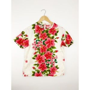 Vintage Floral Printed Short Sleeved Blouse